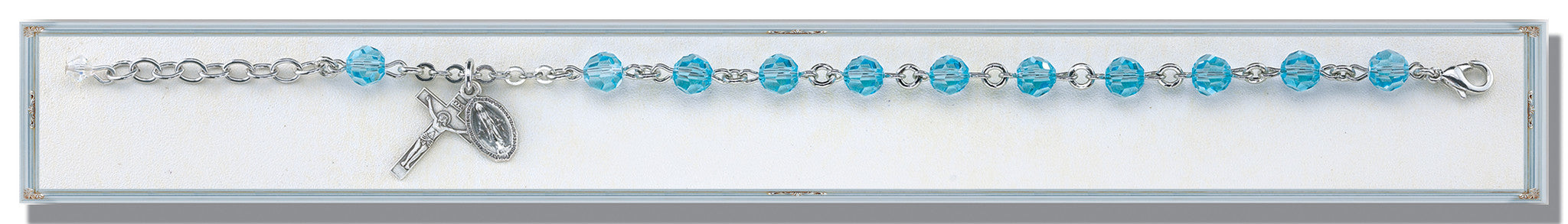 Aqua Round Faceted Swarovski Crystal Sterling Bracelet