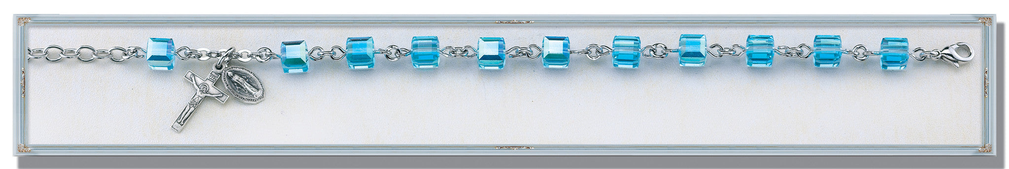 Aqua Swarovski Crystal Faceted Cube Sterling Bracelet