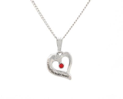 Sterling Silver Engraved Heart Birthstone Pendant - Ruby