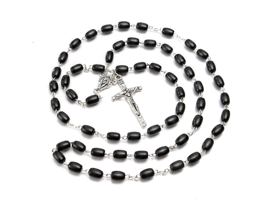 Black Oval Wood Bead Rosary
