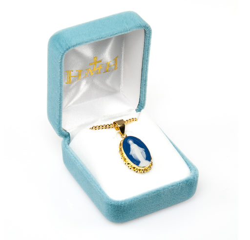 Miraculous Gold over Sterling Silver Blue Cameo Pendant