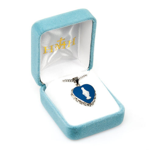 Miraculous Sterling Silver Light Blue Heart Cameo Pendant