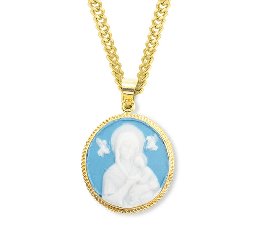 Our Lady of Perpetual Help Gold over Sterling Silver Light Blue Cameo Round Pendant