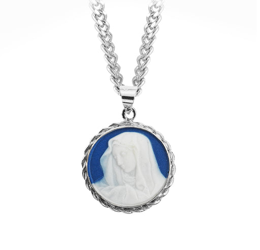 Our Lady of Sorrows Sterling Silver Blue Cameo Pendant