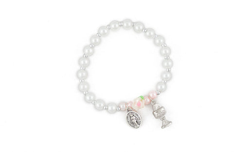 First Communion Girls Rose & Faux Pearl Bracelet