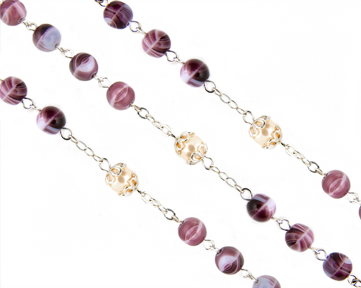 Close up of beads on the Amethyst and Pearl Bead Rosary