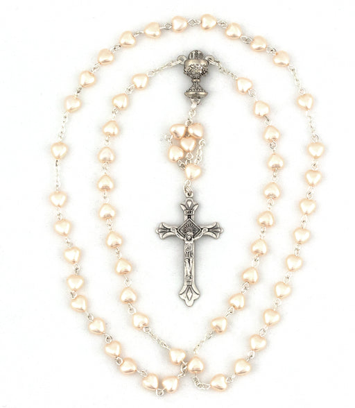 Cream Heart Shaped Pearl Bead First Communion Rosary