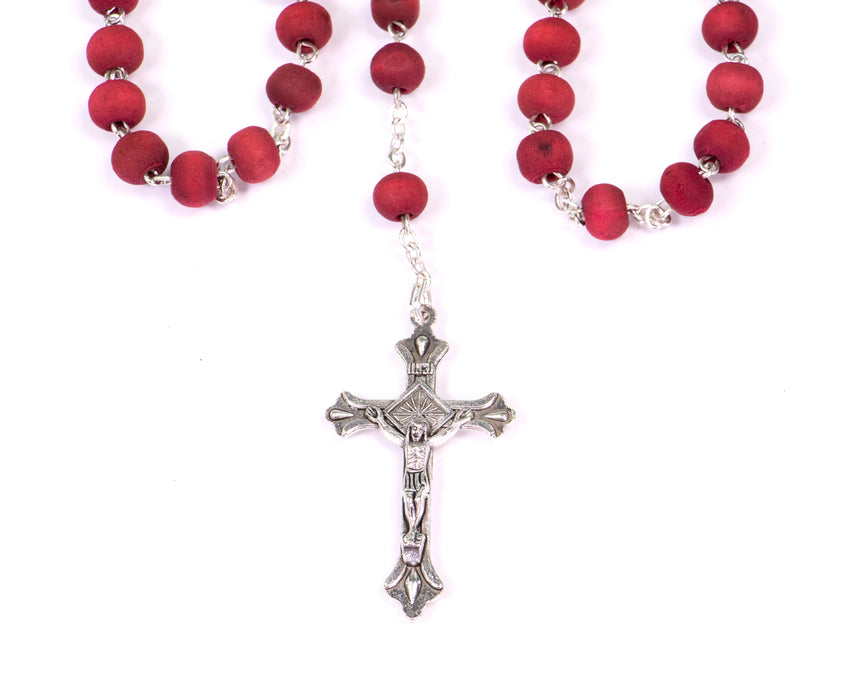 Our Lady of Guadalupe Rosary - Rose Petal Wood Scented Beads