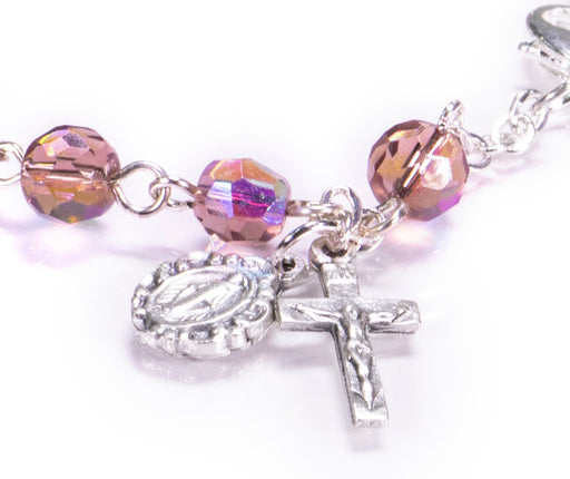 Close up of Amethyst Rosary Bracelet