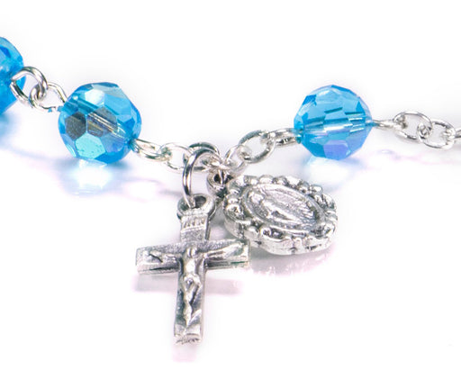Close up of Aqua Rosary Bracelet