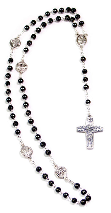 Pope Francis Rosary 6mm Black Glass Beads - Temporarily Sold Out