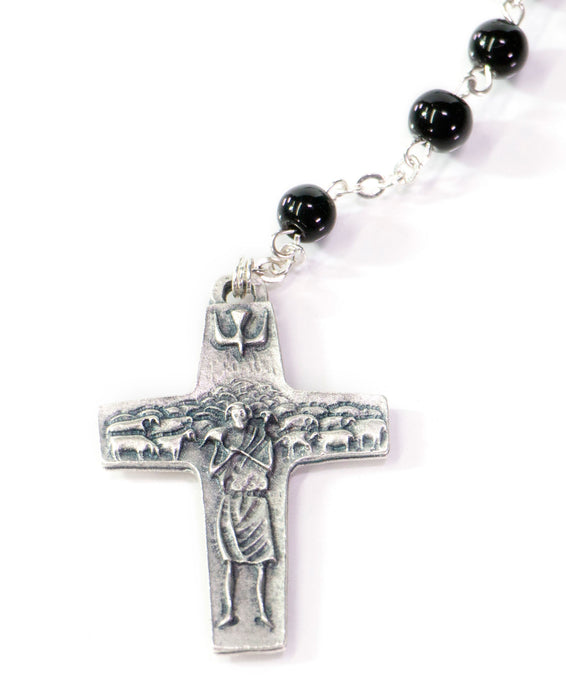 Rosary Crucifix stamped with a shepard with his flock alongside the dove