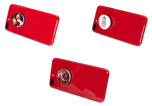 Catholic Expandable Cell Phone Stands (3 pack): John 3:16, Madonna and Child and St. Christopher on a red iPhone