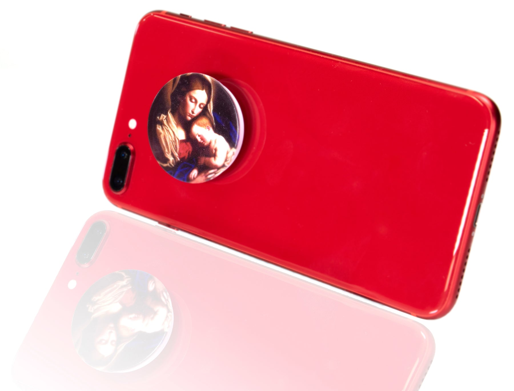 Madonna and Child Faith Socket: Expandable Cell Phone Stand on a red iPhone