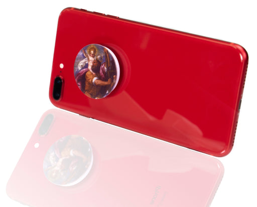 St. Christopher Faith Socket: Expandable Cell Phone Stand on a red iPhone