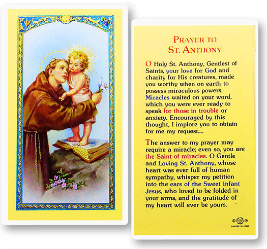 Image of PRAYER TO ST. ANTHONY HOLY CARD