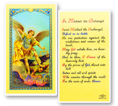 Image of PRAYER TO ST. MICHAEL HOLY CARD