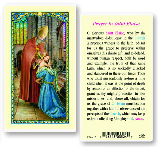Image of ST BLAISE HOLY CARD