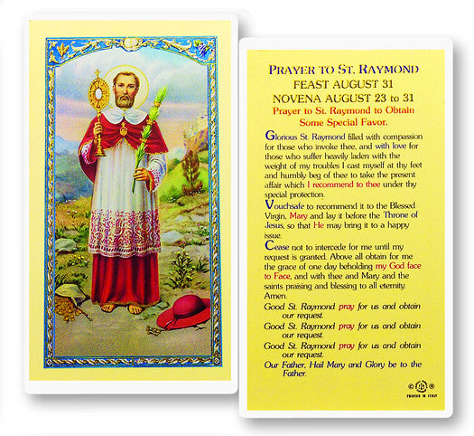 Image of PRAYER TO ST. RAYMOND HOLY CARD
