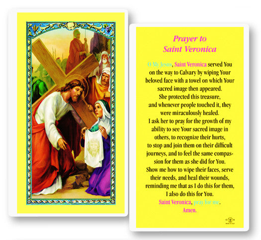 Image of ST VERONICA LAMINATED HOLY CARD