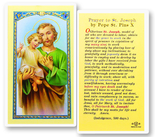 Image of ST. JOSEPH PRAYER BY PIUS X