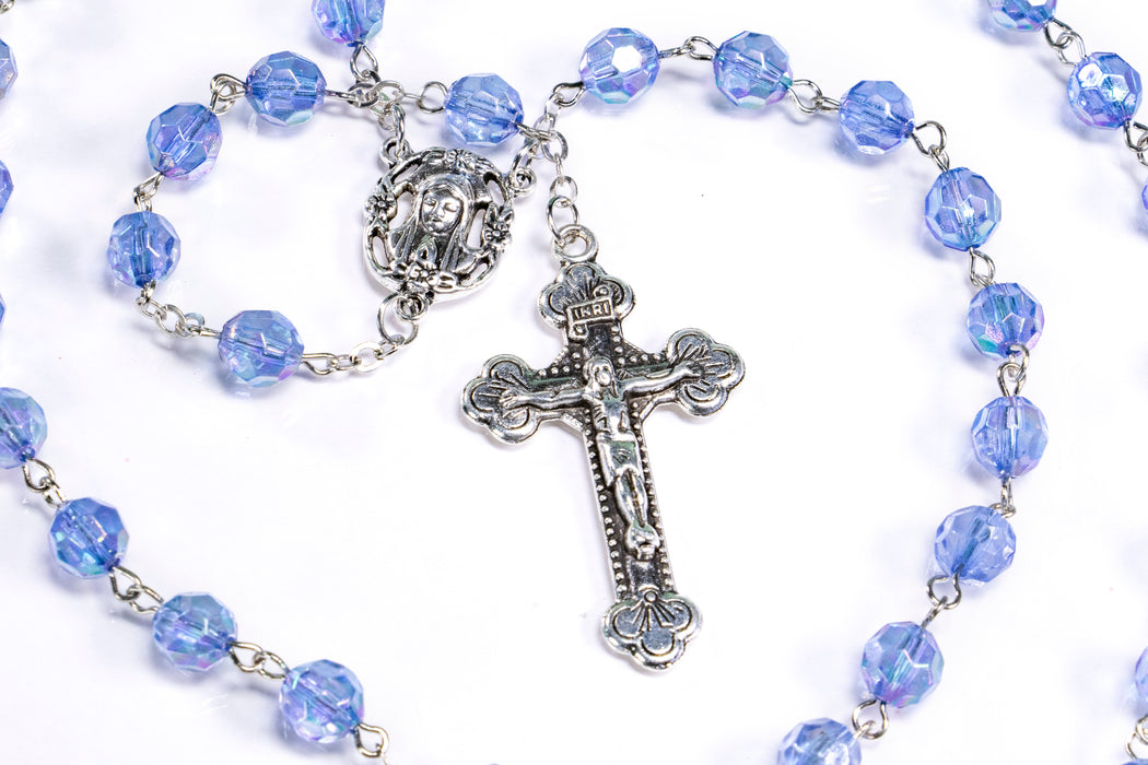 December - Zircon Birthstone Rosary close up