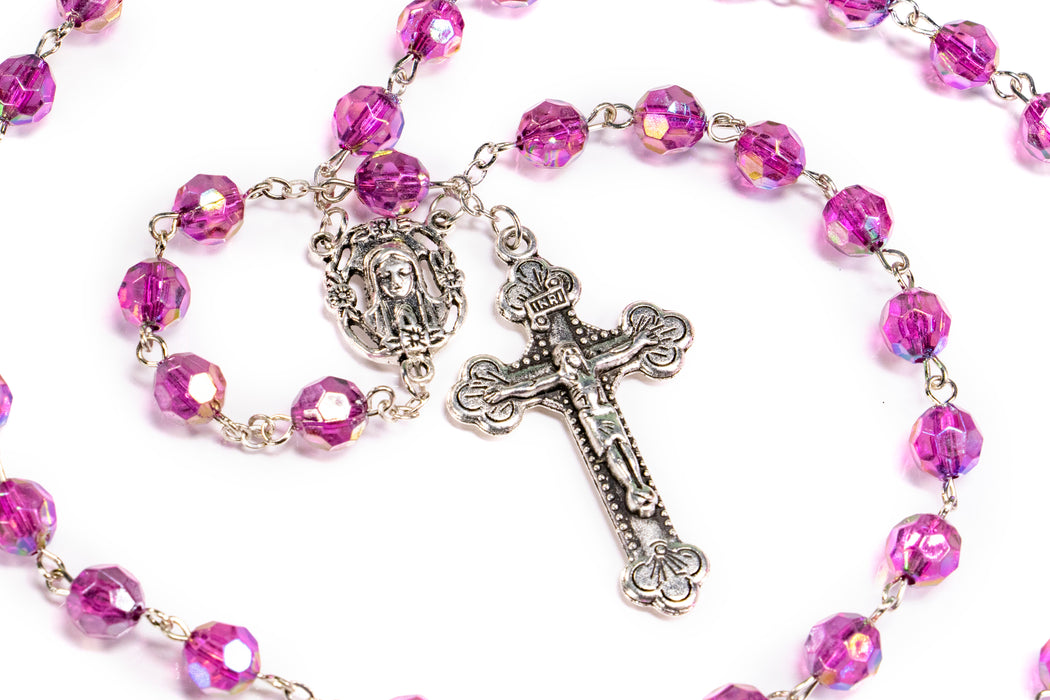 Close up of February - Amethyst Birthstone Rosary
