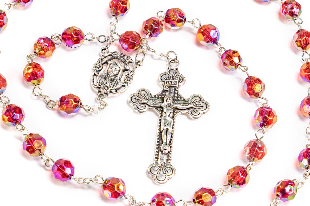 Close up of January - Garnet Birthstone Rosary