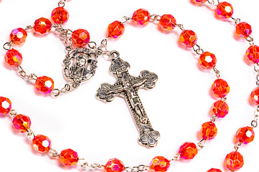 Close up of July - Ruby Birthstone Rosary