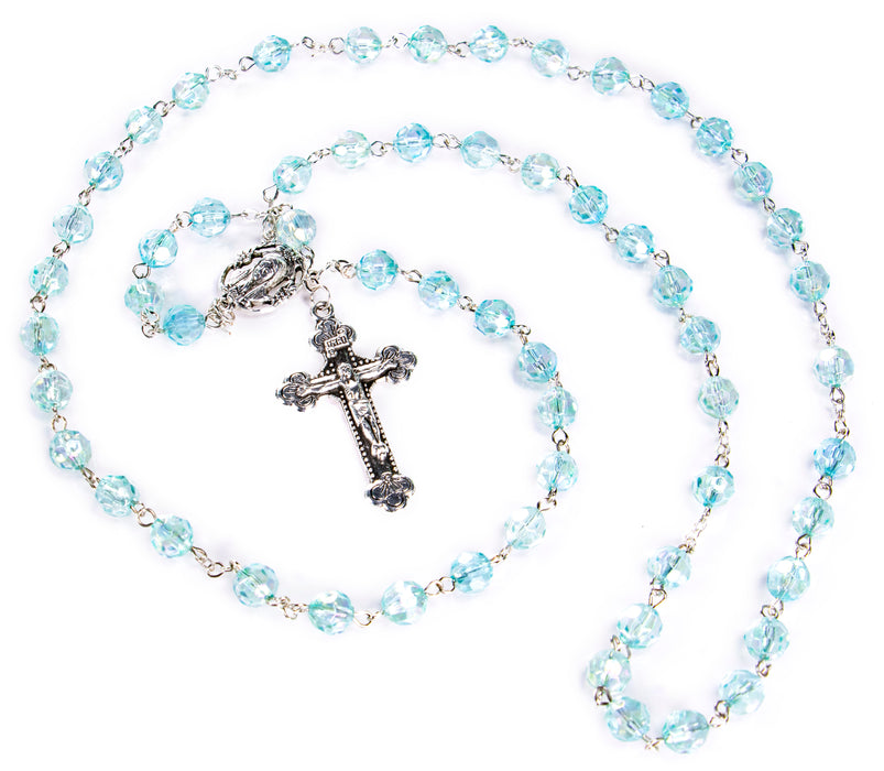 Full view of March - Aquamarine Birthstone Rosary