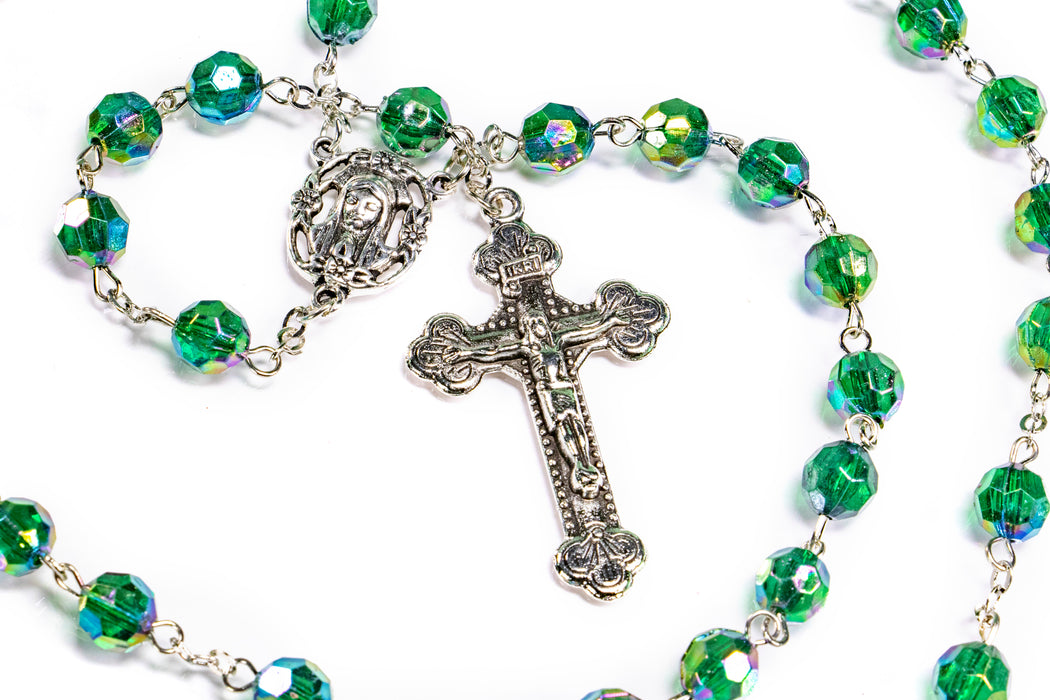 Close up of May - Emerald Birthstone Rosary