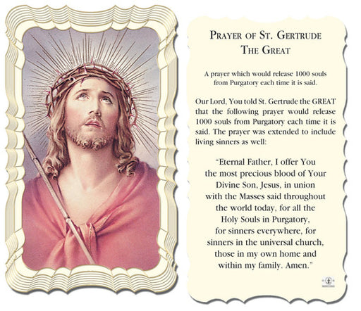 Image of ST GERTRUDE THE GREAT HOLY CARD