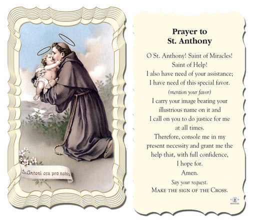 Image of PRAYER TO ST ANTHONY HOLY CARD