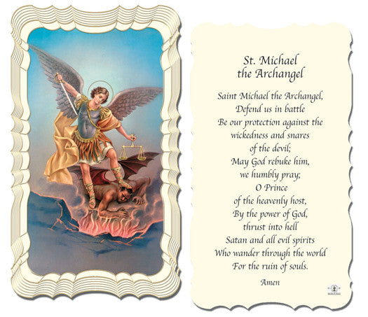Image of PRAYER TO ST MICHAEL HOLY CARD