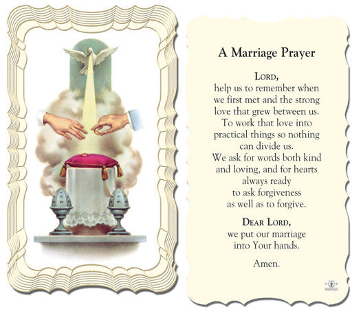 A Marriage Prayer Holy Card Catholic Online Shopping