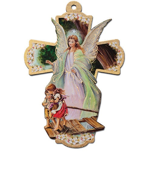 Guardian Angel Cross Wall Plaque