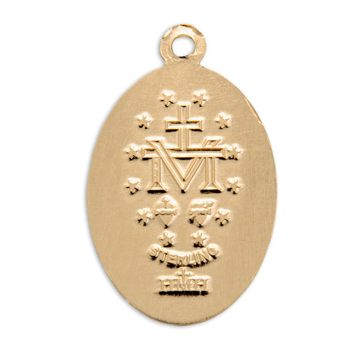 Miraculous Gold over Sterling Silver Oval Medal