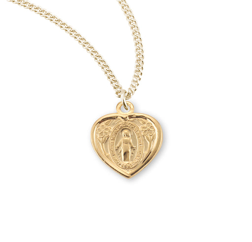 Miraculous Gold over Sterling Silver Heart Shaped Baby Medal