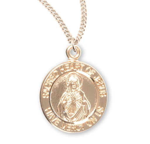Sacred Heart of Jesus Gold over Sterling Silver Round Medal