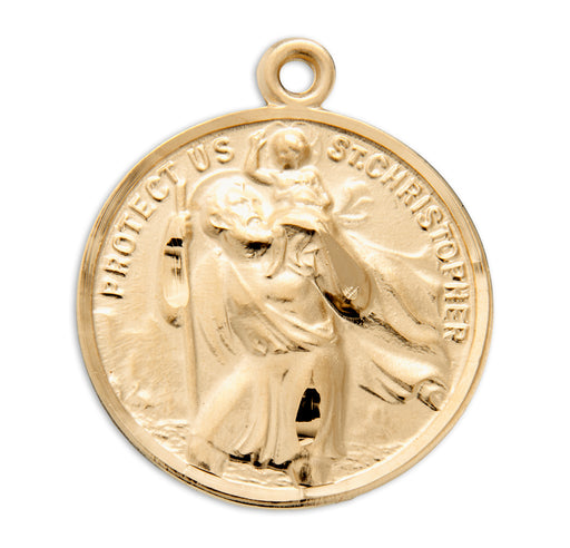 St. Christopher / St. Raphael Gold over Sterling Silver Round Medal