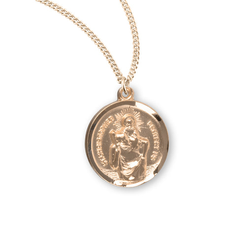 St. Christopher Gold over Sterling Silver Round Medal