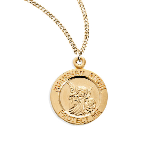 Guardian Angel Gold over Sterling Silver Round Baby Medal