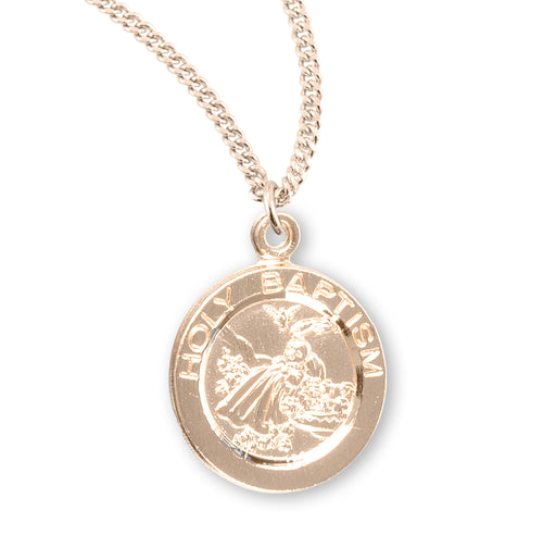 Holy Baptism Gold over Sterling Silver Round Baby Medal