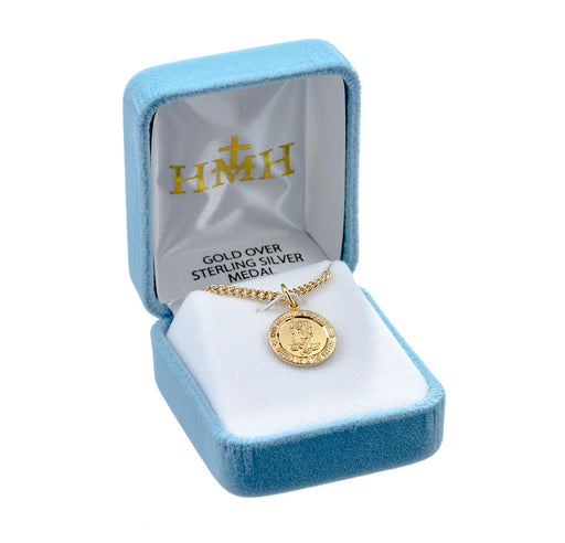 St. Michael Gold over Sterling Silver Round Medal