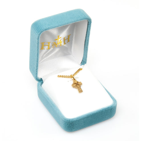 Irish Celtic Gold over Sterling Silver Cross Baby Pendant
