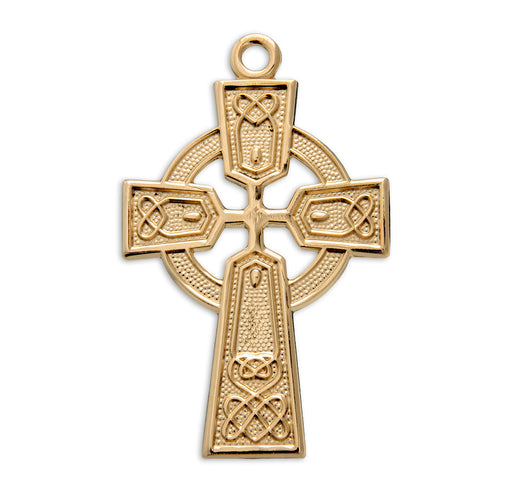 Gold Over Sterling Silver Celtic Irish Cross Pendant