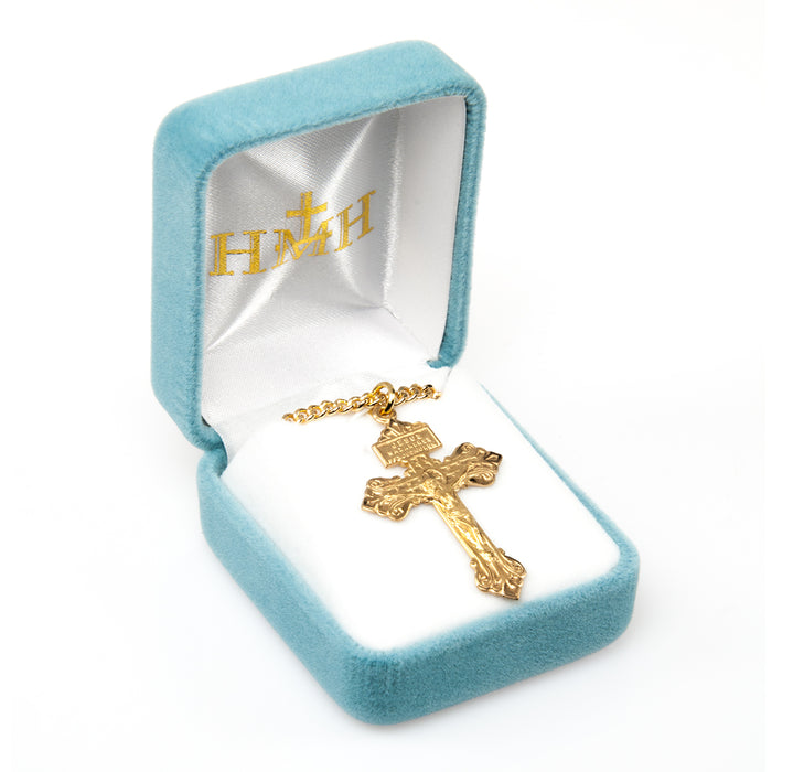 Pardon Crucifix Gold Over Sterling Silver Pendant