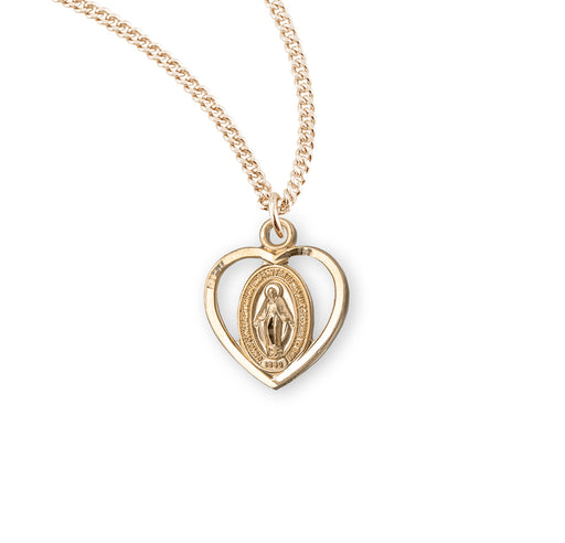 Miraculous Gold over Sterling Silver Heart Baby Medal
