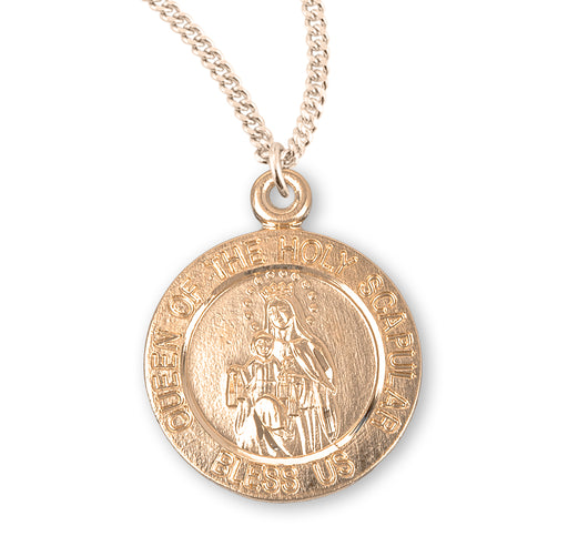 Holy Scapular Gold over Sterling Silver Round Medal