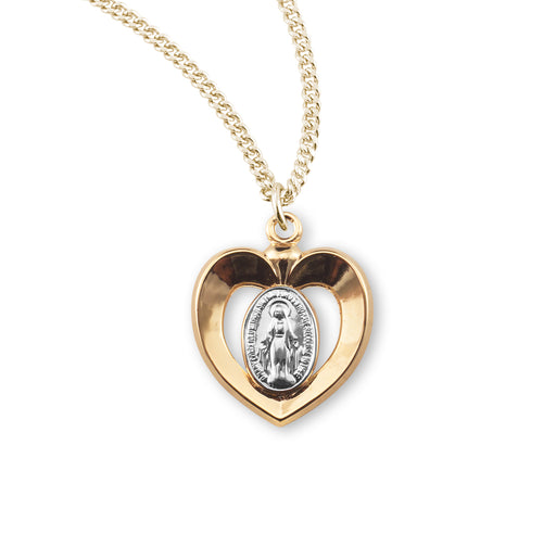 Miraculous Two Toned Gold over Sterling Silver Heart Medal